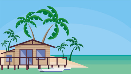 Small lodge on piles against the background of palm trees and a sea landscape. Vector background.