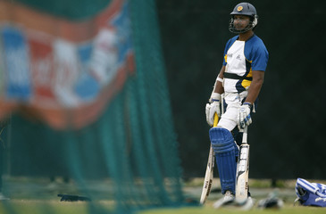 Sri Lanka's Sangakkara waits for batting practices during a practice session ahead of the World Twenty20 cricket match against South Africa in Hambantota