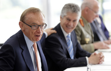 Australian Foreign Minister Carr accompanied by Australian Defense Minister Smith speaks during the annual Australia-United States Ministerial Consultations in Perth
