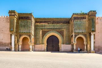 Gate Bab El-Mansour at the El Hedim square in Meknes - Morocco