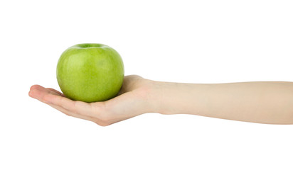 A female hand keeps on a palm a green apple isolated on a white background.