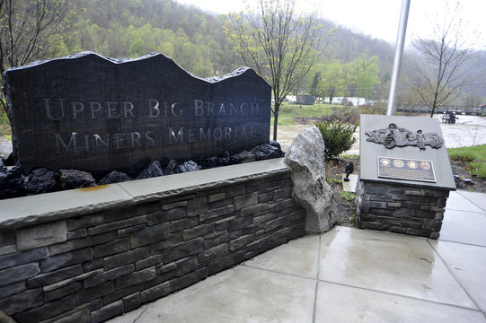 A memorial to honor the 29 West Virginian Coal Miners that lost their lives in the Upper Big Branch mining disaster on April 5th, 2010 is seen along Route 3 near Whitesville