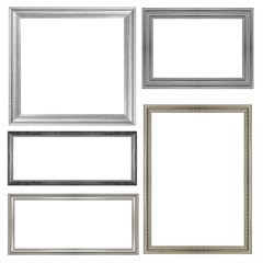 set of silver picture frame isolated on white background