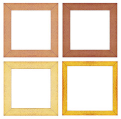 set of wooden  picture frame on white background.