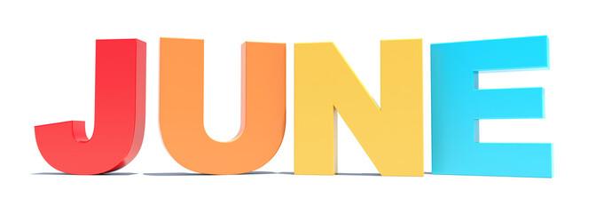 June - calendar month - 3D colored letters