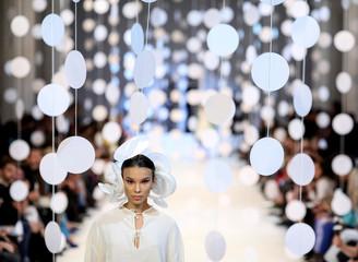 A model presents a creation by Ukrainian designer Zalevskiy during Ukrainian Fashion Week in Kiev