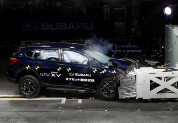 SubaruÕs new XV performs offset colliding test at a facility at its factory in Ota