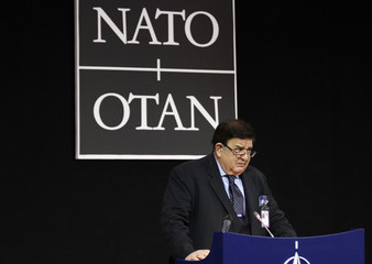 Afghan Defence Minister Wardak holds a news conference after a meeting of NATO Foreign Ministers with non-ISAF contributing nations in Brussels