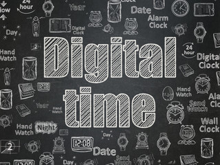Timeline concept: Digital Time on School board background