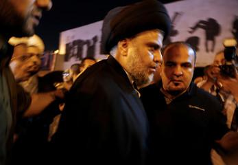 Iraqi Shi'ite radical leader Muqtada al-Sadr is seen at Tahrir Square in central Baghdad