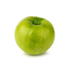 Green apple isolated on white background. Side view.