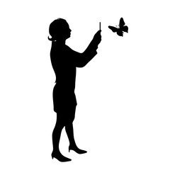 Vector silhouette of girl woman butterfly on white background.