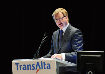 TransAlta CEO and President Snyder addresses shareholders during the company's annual general meeting in Calgary