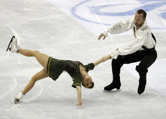 Hausch and Wende of Germany perform during the pairs free skating event at the ISU World Figure Skating Championships in Nice