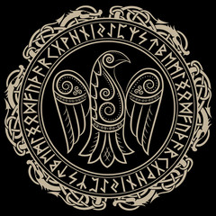 Design of Raven in Celtic, Scandinavian style and Norse runes