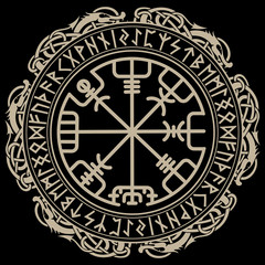 Viking design. Magical runic compass Vegvisir, in the circle of Norse runes and dragons