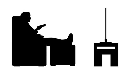 Vector silhouette of woman watch tv on white background.
