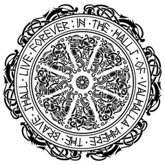 Ancient Scandinavian ornament, shield Viking and Scandinavian runes