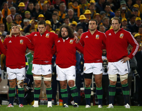 The British and Irish Lions team line up before the start of their third and final rugby union test match between their team and the Australia Wallabies at ANZ stadium in Sydney
