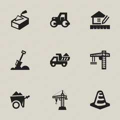 Set Of 9 Editable Construction Icons. Includes Symbols Such As Home Scheduling, Oar, Camion And More. Can Be Used For Web, Mobile, UI And Infographic Design.