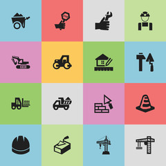 Set Of 16 Editable Building Icons. Includes Symbols Such As Home Scheduling, Notice Object, Facing And More. Can Be Used For Web, Mobile, UI And Infographic Design.
