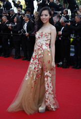 """Pop singer Jane Zhang poses on the red carpet as she arrives for the screening of the film """"The Homesman"""" in competition at the 67th Cannes Film Festival in Cannes"""