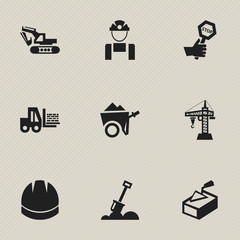 Set Of 9 Editable Structure Icons. Includes Symbols Such As Handcart , Elevator, Excavation Machine. Can Be Used For Web, Mobile, UI And Infographic Design.