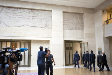 The Libyan General National Congress (GNC) delegation arrives at the Palais des Nations in Geneva