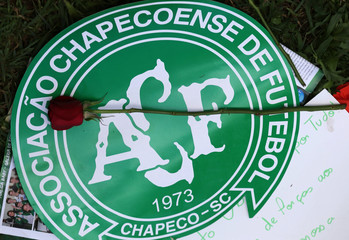 A flower is pictured over a Chapecoense soccer team logo in tribute to their players in front of the Arena Conda stadium in Chapeco