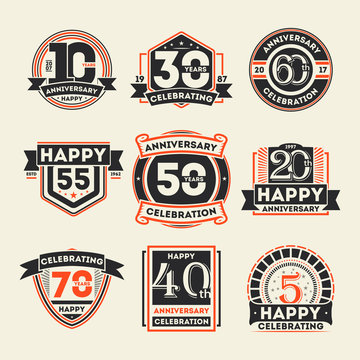 Anniversary celebration vintage isolated label set