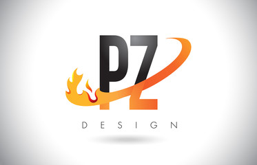 PZ P Z Letter Logo with Fire Flames Design and Orange Swoosh.