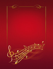 red musical background with gold frame notes and treble clef