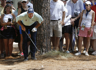 Furyk of the U.S. looks over his shot off the fairway on the 16th hole during the first round of the U.S. Open Championship in Pinehurst
