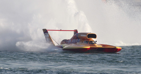 Graham Trucking's Bernard competes during the Oryx Cup World Championship final powerboat race in Doha
