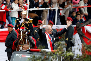 New Peruvian President Pedro Pablo Kuczynski attends a military parade to celebrate Peru's Independence Day in Lima