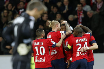 Lille's Kalou celebrates a goal with teammates during their French Ligue 1 soccer match against Bastia in Villeneuve d'Ascq