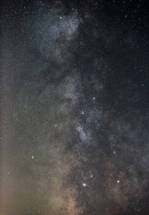View of the Milky Way Galaxy in the night sky with bright stars. Astrophotography of outer space.