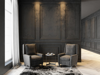 Armchairs and coffee table in classic black interior. 3D render interior mock up.