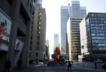 The Olympic torch artwork displayed outside the headquarters for the Canadian Olympic Committee (COC) in Montreal