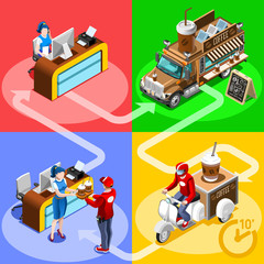 Coffee Cafe bar take away food truck and white car or van for breakfast fast home delivery vector infographic. Isometric people delivery man processing online order at the client customer door