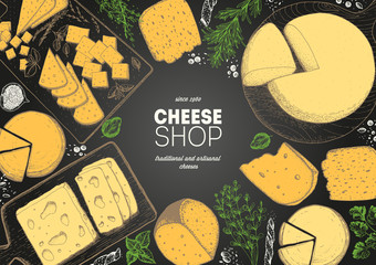 Cheese top view frame. Vector illustration with a collection of cheese. Engraved style image. Dairy farm products cheese.