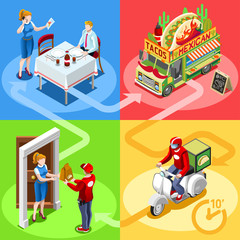 Mexican take away food truck and white motor scooter for burrito fast home delivery vector infographic. Isometric people delivery man processing online order at the client customer door