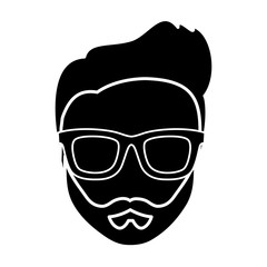 hipster man with glasses icon over white background. vector illustration