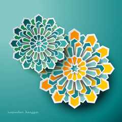 Vector abstract flower as rose window graphic of islamic geometric art. Paper Ramadan Kareem background with Islamic decorations.
