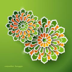 Paper vector graphic of islamic geometric art. Ramadan Kareem background with Islamic Muslim Crescent Moon Ramadan decorations.