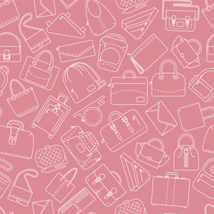 Seamless pattern. Different bags and cases in linear icons style. Pink color. Vector illustration.
