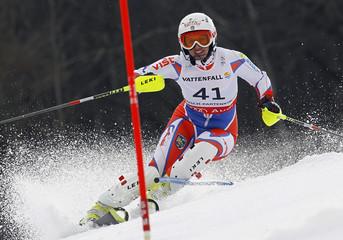 Kurfuerstova of Czech Republic competes during the women's slalom race at the Alpine Skiing World Championships in Garmisch-Partenkirchen