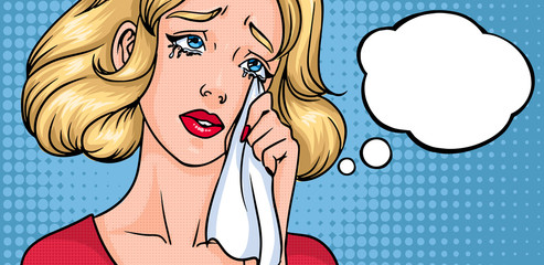 Crying woman face. Sad girl, horizontal background with place for text. Empty blank speech bubble. Colorful comics vector illustration in pop art style.