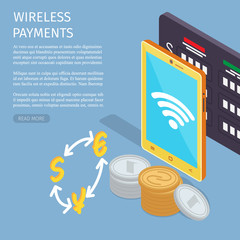 Wall Mural - Wireless Payments Internet Info Page Illustration