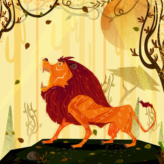 Wild animal Lion in jungle forest background